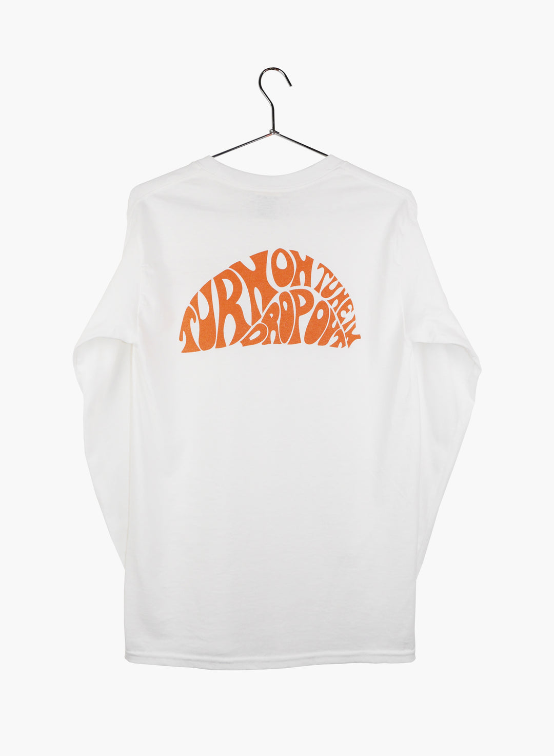 T shirt long sleeves with pocket, white, with Turn On design hand screen printed, inspired by Timothy Leary.