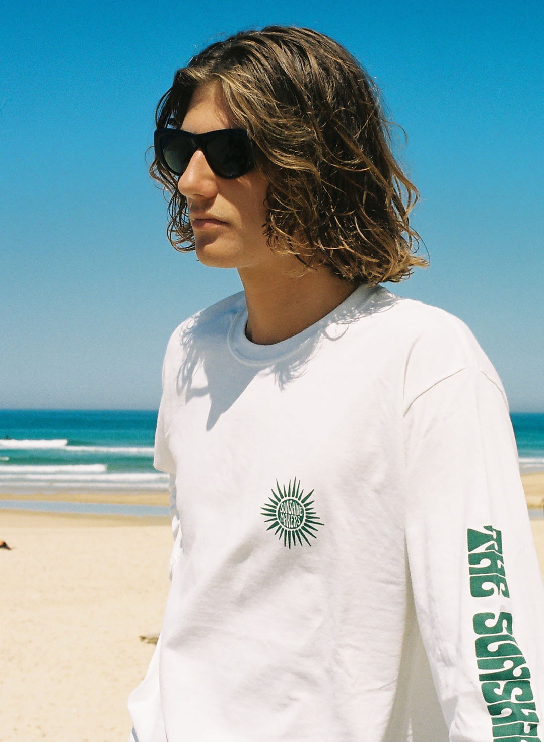 Surfin Estate white long sleeve tee with blotter design hand screen print.