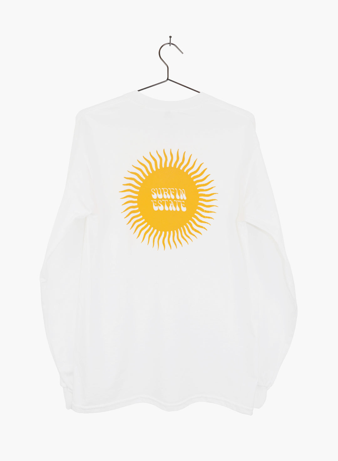 Surfin Estate white long sleeve t shirt  with sunshine logo hand screen print.