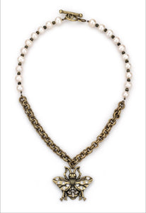 Freshwater Pearls with Cat's Eye, Double Cable Chain & Bee Pendant
