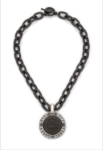 Black Lourdes Chain with Abeille Medallion and Swarovski