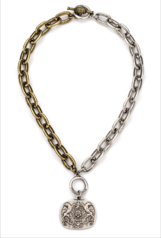Mixed Metal Lourdes Chain with Medallion