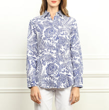 Load image into Gallery viewer, Diane Long Sleeve Blue & White Paisley Print