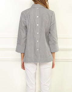 Aileen 3/4 Sleeve Stripe Button Back