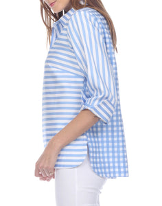 Aileen Button-Back Blouse Blue Gingham