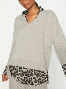 Looker Layered V-Neck Sweater Leopard