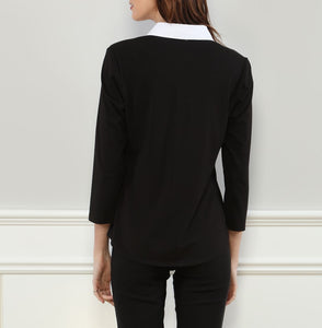 Lizette 3/4 Sleeve Pullover Shirt w Knit Sleeves & Back