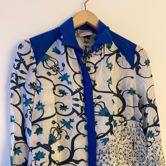 PETER SOM SILK FLORAL BLOUSE