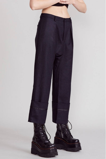 r13 drop crotch cuff pants