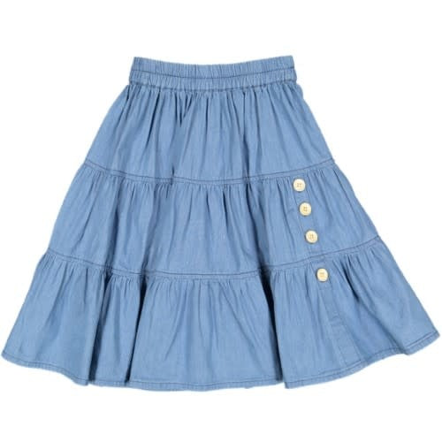 Juste Cle Light Denim Tiered Button skirt