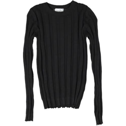 Juste Cle' Black Knit Ribbed Sweater