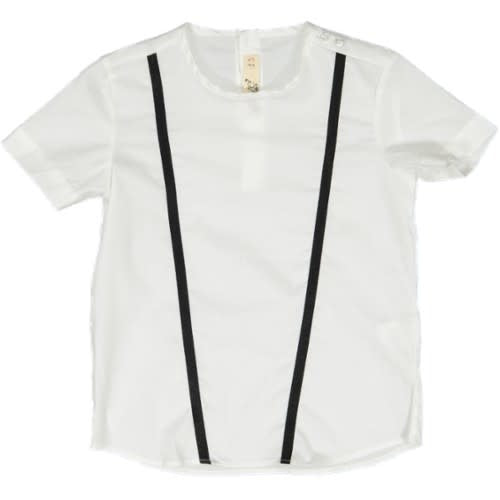 WHITE SHIRT WITH RIBBON ACCENTING