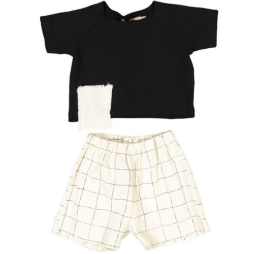 Pudu Black Checked Baby Set