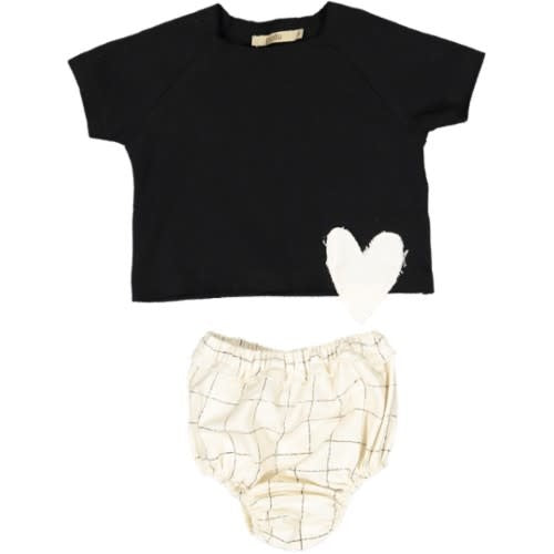 Pudu Black Checked Baby Girl Set