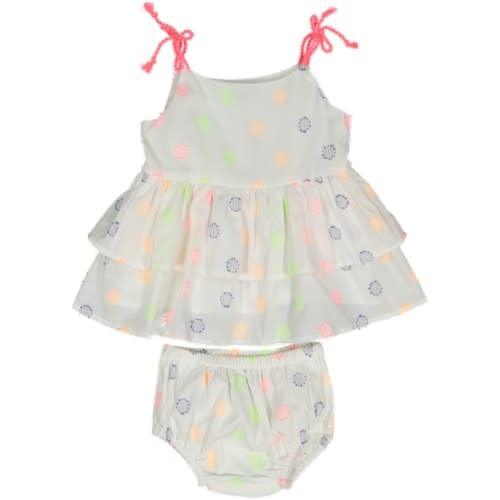Taboo Neon Embroidered Ruffle Set