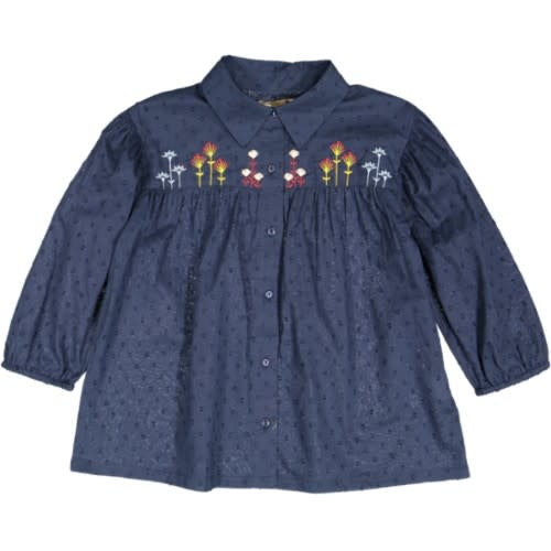 With Love Navy Flower Embroidered Blouse