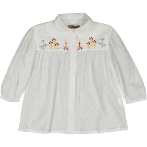 With Love White Flower Embroidered Blouse