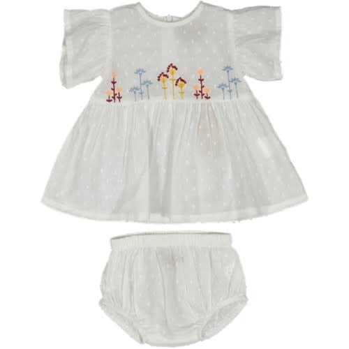 With Love White Flower Embroidered Bloomer Set