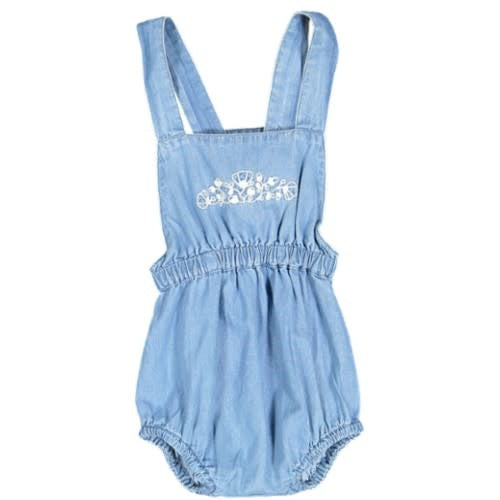 With Love Chambray Embroidered Waisted Romper
