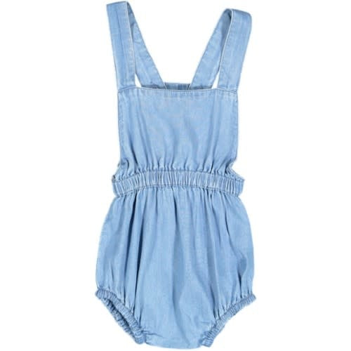 With Love Chambray Waisted Romper