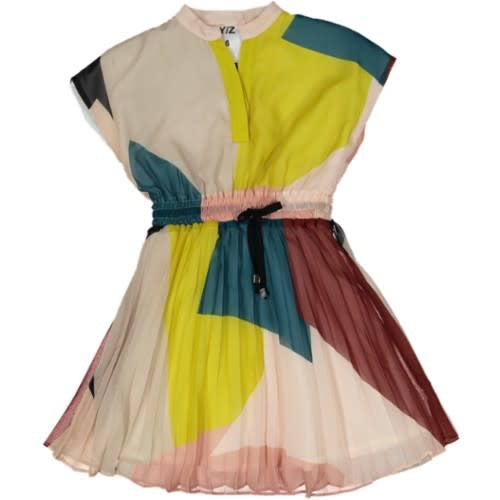 Color-Block Printed Pleated Dress