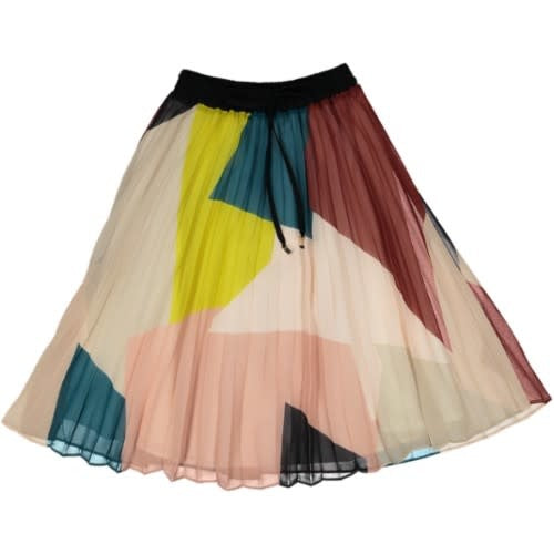 Summer Color-block Printed Pleated Skirt