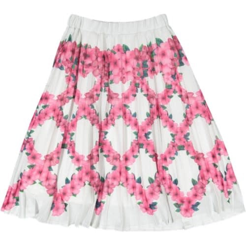Pink And Silver Floral Pleated Skirt