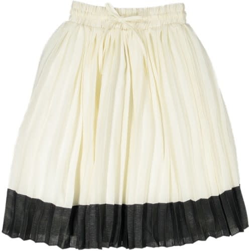 Elastic Waist Two Tone Pleated Skirt