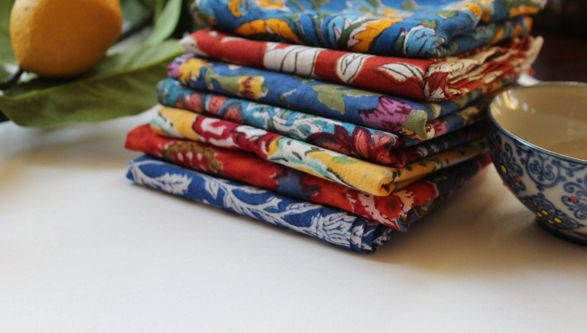 resuable cloth table napkins which are made from Indian print fabric