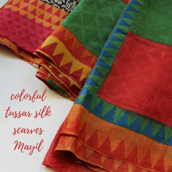 Colorful tussar silk scarves mayil scarves
