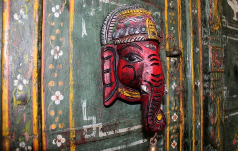 painted wooden ganesha wall hanging