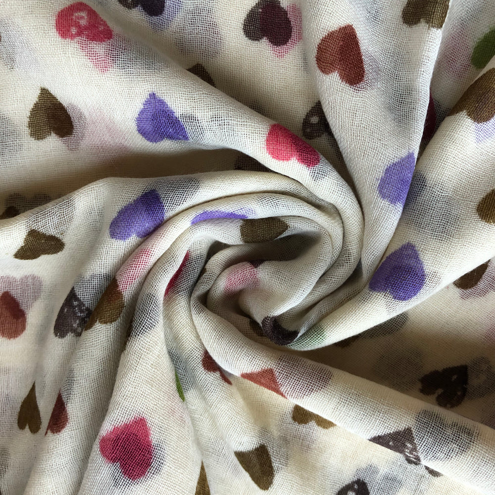 soft wool scarf - hearts