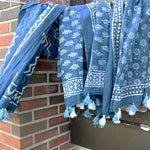 blue dabu block print scarves