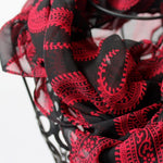 chiffon ruffle scarf - black with red paisleys