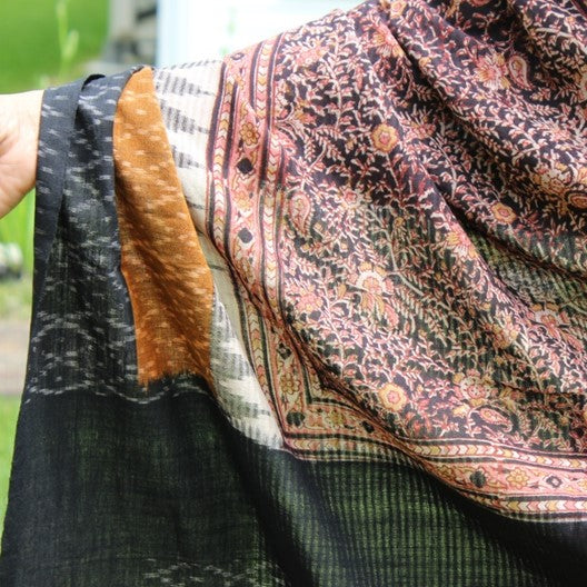 kalamkari scarf with ikat borders - black and mustard