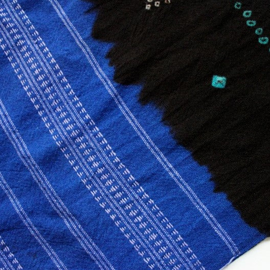 large blue and black winter scarf