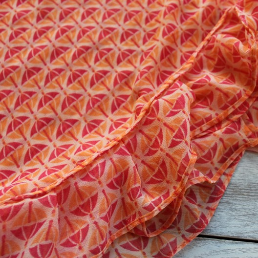 chiffon ruffle scarf - peach and coral