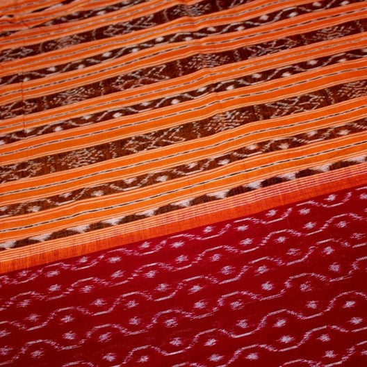 cotton ikat scarf red with orange borders