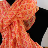 ruffle scarf chiffon fabric peach and coral