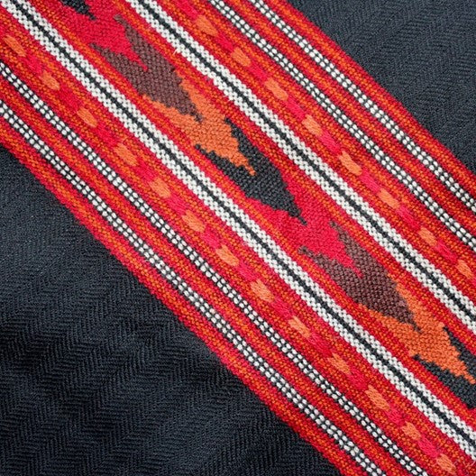 black and red winter scarf made from fine wool Kashmiri style