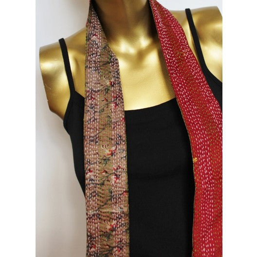 skinny scarf - reversible red and tan kantha silk