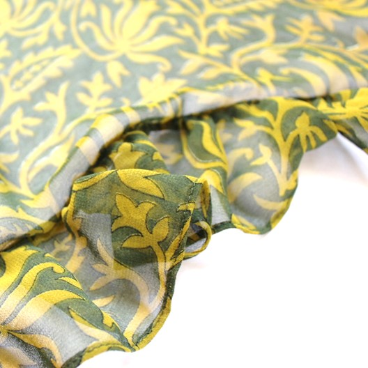 green chiffon scarf with ruffles