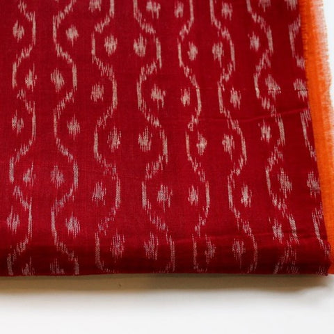 red cotton ikat scarf