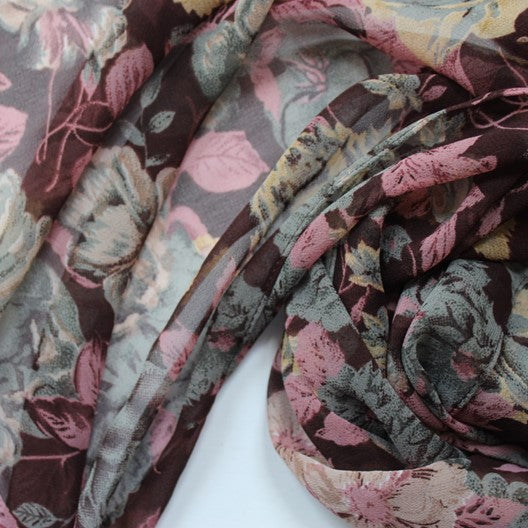 brown scarf with flowers