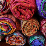 silk sari kantha stitch scarves