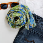 green blue roses scarf