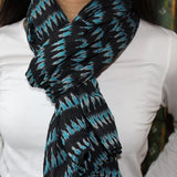 black ikat scarf with blue and gray