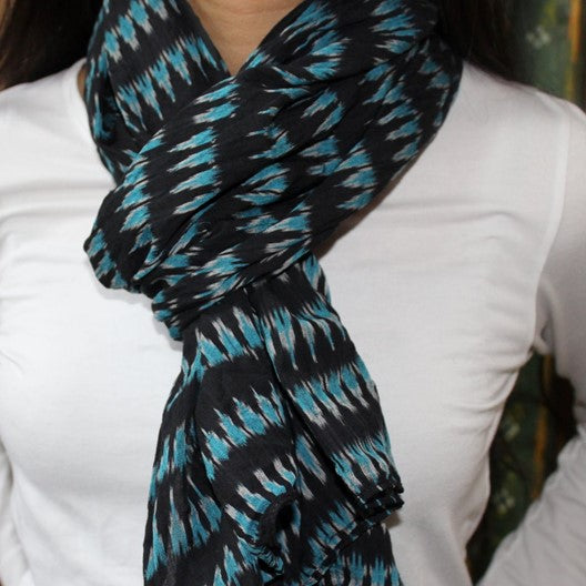 black pochampally ikat scarf