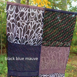 black blue mauve colors in a scarf