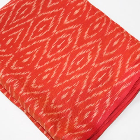 orange ikat scarf pochampally weave in silk cotton blend fabric